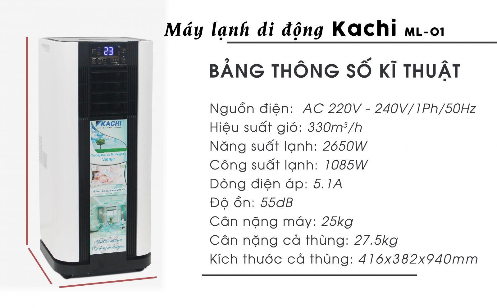 Thông số kỹ thuật máy lạnh di động kachi