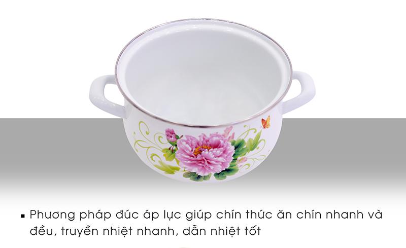thông tin bộ 5 nồi tráng men Mishio hoa cúc