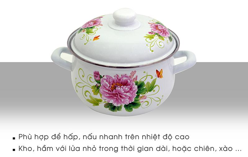 chi tiết bộ 5 nồi tráng men Mishio hoa cúc