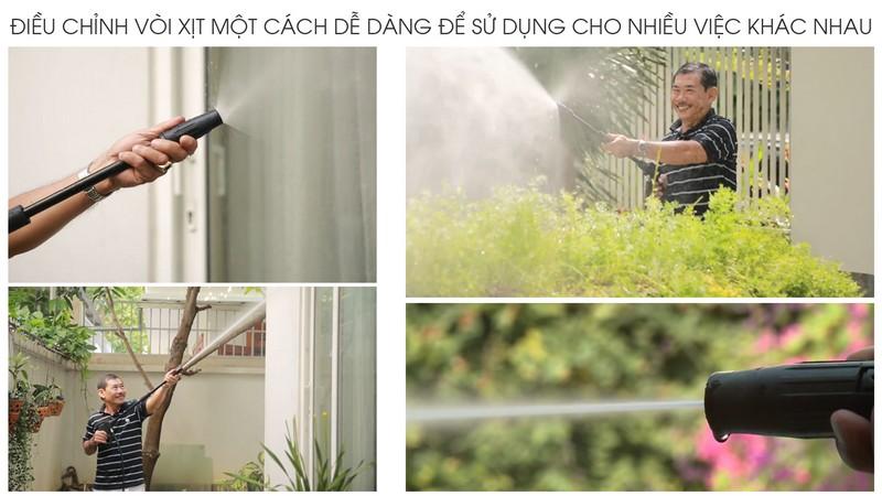 Điều chỉnh vòi xịt máy kachi dễ dàng sử dujgn cho nhiều công dụng khác nhau